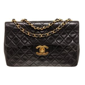 Chanel Vintage Black Leather Maxi Single Flap Bag